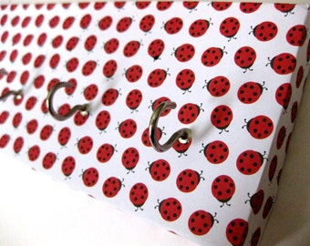 "Ladybug Key Rack, Ladybug Jewelry Holder, Ladybird Jewelry Rack, Organization for Jewelry, Organization for Keys, Red and White ""Ladybug"""