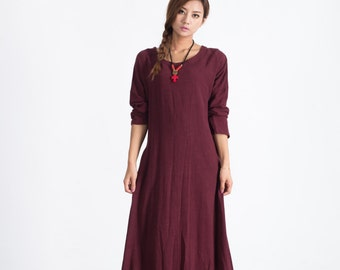 Linen maxi dress Women's cotton caftan Oversize loose Bridesmaid large size dress plus size clothing Custom_made dress A19