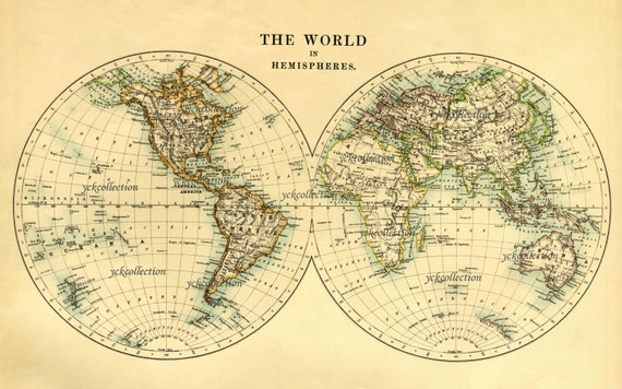 Antique world map in hemispheres vintage 1887 map 85 x 14 antique world map in hemispheres vintage 1887 map 85 x 14 to 35 x 44 300 dpi in ultra high resolution instant digital download gumiabroncs Choice Image