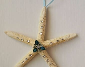 Sparkle Starfish Blue and Silver Ornament