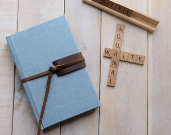 Natural Linen Journal or Sketchbook with Leather Tie, Writing Journal, Unlined Notebook, Blank Journal, Blank Diary, Blank Notebook