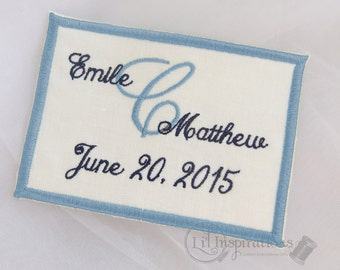 Personalised Wedding Dress Label - Wedding Date Label - Embroidered Gown Label