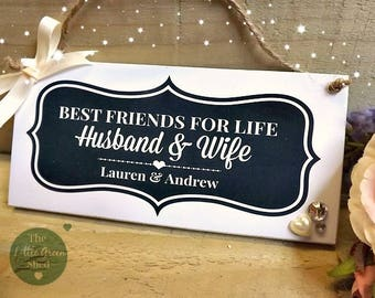 Husband & Wife Plaque Hanging Sign Anniversary Wedding Gift Keepsake 9 x 19cm