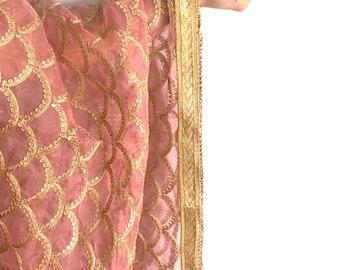 Embroidered Dusty Rose Mermaid Net Dupatta with Gold Border - Indian Wedding Veil, Chunni, Mermaid Scales Fabric, Pink Net Dupatta, Scarf