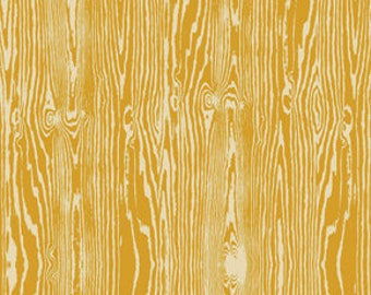 Joel Dewberry Fabric, True Colors Collection, Woodgrain in Straw Yellow, cotton quilting fabric -  YARD