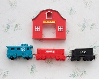 Plastic Train Set and Barn - Vintage Toys
