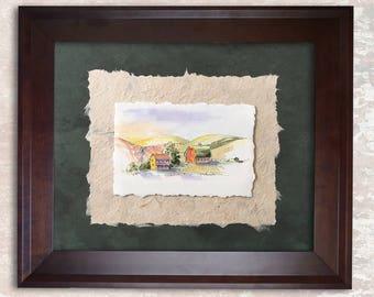 Original Farm Painting Art Collage Watercolor Barn Farm House Art FREE Shipping