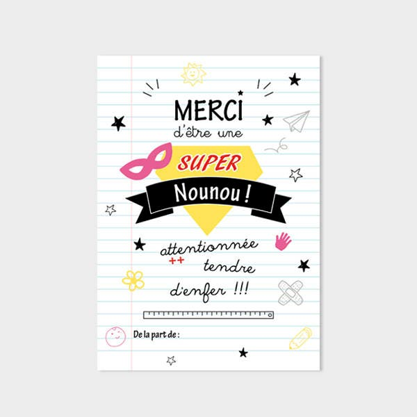 Carte remerciements nounou cadeau nounou super nounou carte - Cadeau nounou fin d annee ...