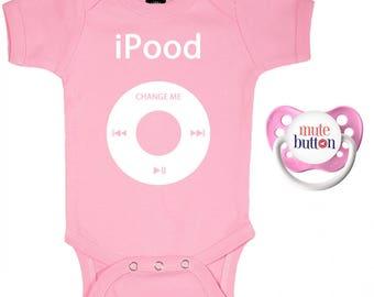 iPood Baby Romper & Pacifier Gift Set Pink