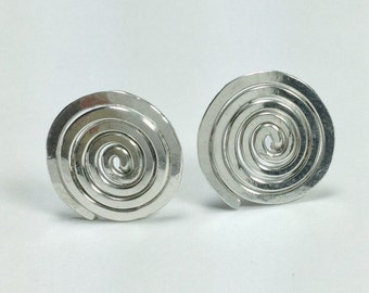 Silver spiral earrings 'La vida'