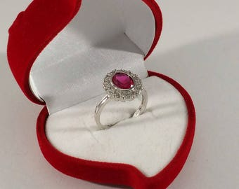 18 mm Ring Silver 925 Ruby & Crystals Stainless SR334