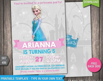 Free Disney Frozen Birthday Invitations ~ Frozen elsa invite etsy