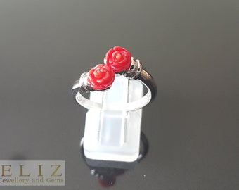 925 Sterling Silver Ring Bouquet of Genuine Red Coral Roses SZ 8