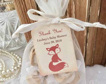 Fox Favor Bags Baby Shower Favor Kit Personalized Tags Woodland Set of 10