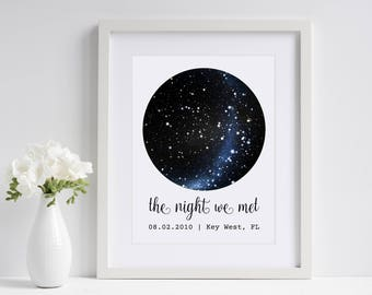 The Night We Met | Custom Sky Map | Personalized Star Map | First Anniversary Gift | Star Print | Paper Anniversary Gift for Husband Wife