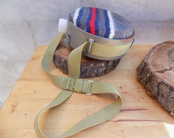 Vintage Metal Qt blanket covered Canteen with strap/Military/Scouts