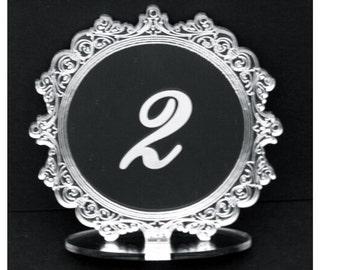 MTN1/10cm Table Number SETS,SILVER Mirror,Wedding,Party,Restaurant-Table No's/1 Sided  Freestanding  by VividLaser