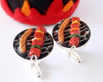 Skewer and Sausage Summer Grill Cufflinks - Miniature Food Art Jewelry Collectable - Schickie Mickie Original - 100% Handmade