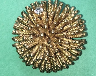 Vintage Gold Tone Porcupine  with Crystal Accent Pin/Brooch/Gold tone Metal/ 30mm /Great Condition #BCEB-702