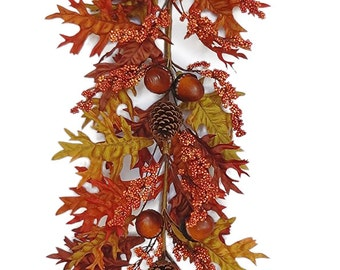 6' Fall Acorn/Oak Leaves Garland