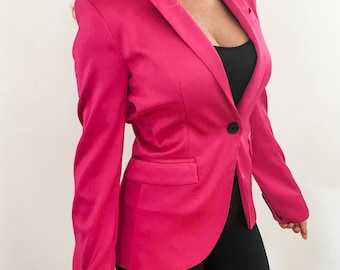 Pink Jacket, Classical Woman Jacket, Pink and Black, Gift, Fashion, Party, Business Jacket, Blazer, Fancy Jacket, Birthday, Festival