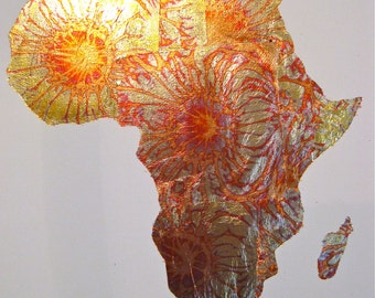 LARGE gold leaf painting of Africa