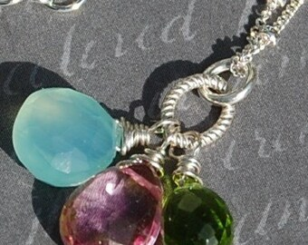 Aqua, Green, Pink Necklace, Sterling Silver Chalcedony Peridot, Quartz Hibiscus Flower Necklace