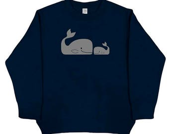 Whales - Sweatshirt - Whale Buddies - Long Sleeved Shirt Navy Blue - Fleece - Christmas Sweatshirt - Gift Friendly
