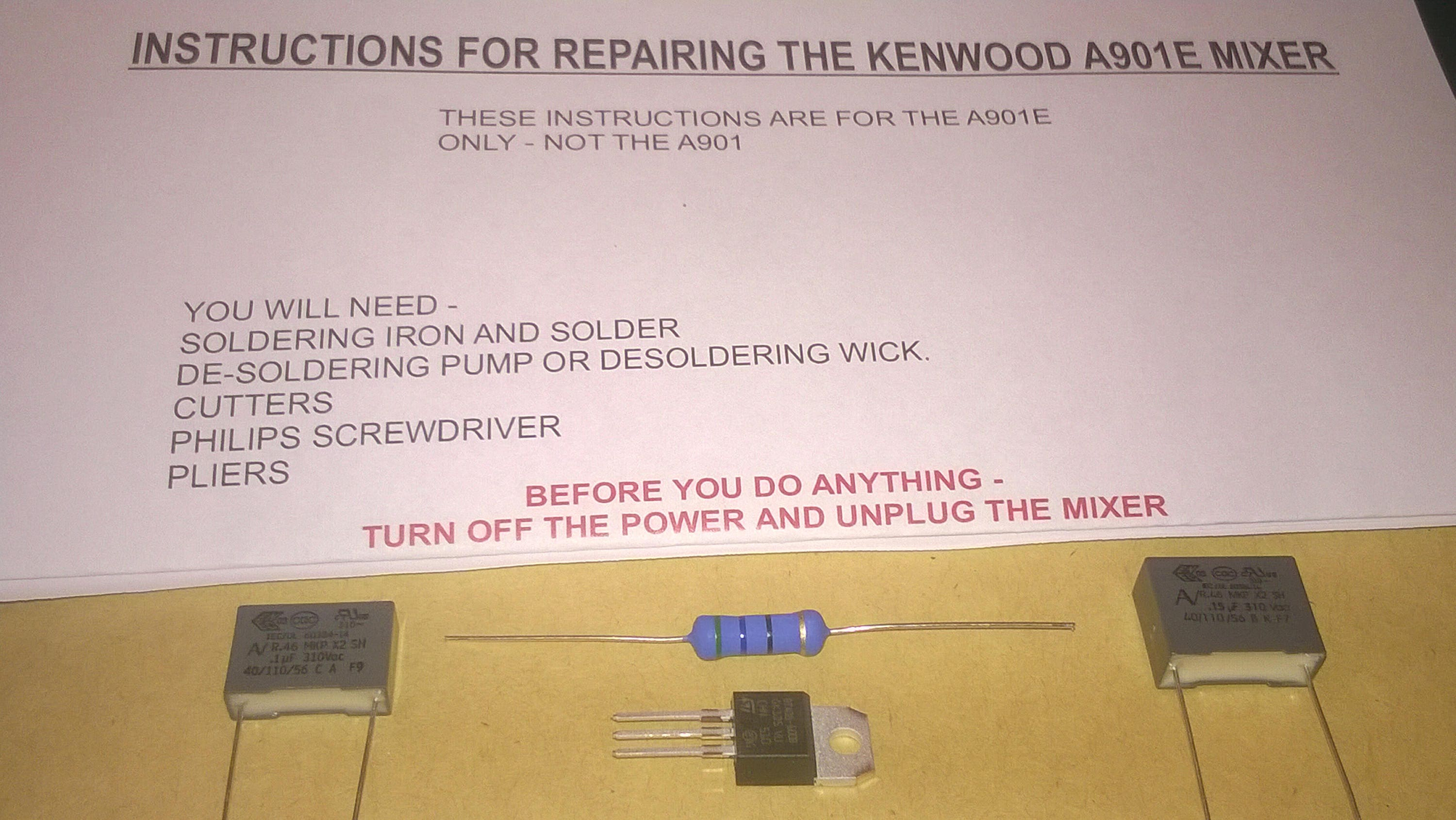 Kenwood chef a901e repair kit capacitors resistor triac zoom asfbconference2016 Images