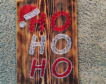 Ho Ho Ho Christmas String Art Sign