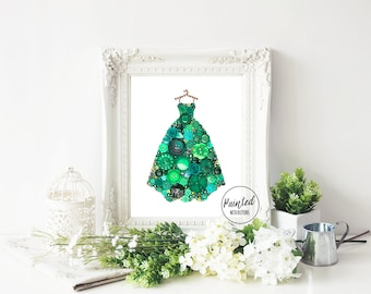 Emerald Gown Art PRINT - Button Art Print - Fancy Dress Print - Green Ball Gown Art Print - Dressing Room Decor - Gifts for Her