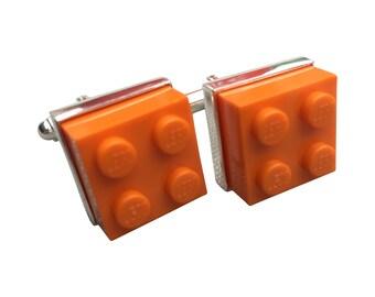 Cufflinks made using Orange Lego Brick with Free Cuff Link Box and Free Shipping