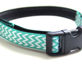 Aqua Chevron Dog Collar Adjustable Sizes (XS, S, M)