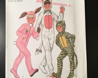 """1976 Child Size 4-Chest 23"""" Uncut Simplicity Pattern #7683 Rabbit-Cat-Tiger Costume with detachable head peice-front zipper, easy to sew"""