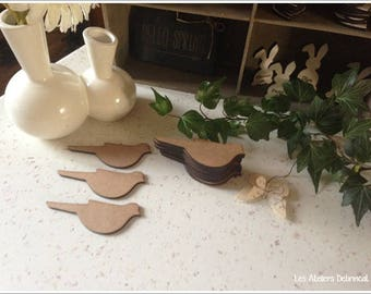 Set of 4 birds blank height 4 cm thickness 3mm
