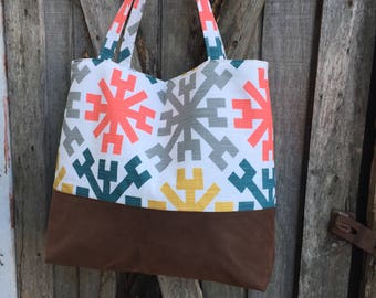 Large Diaper Bag Handbag Purse Tote Bag Shoulder Tote in Coral and Blue