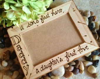 Gift for Dad A Daughter's First Love and A Son's First Hero Holds a Standard 4 x 6 Photo - Valentine Gift Father