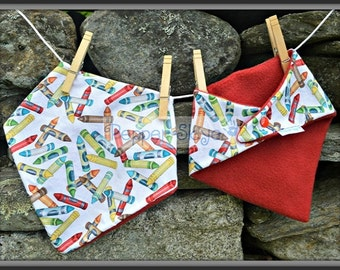 Colored Crayons on White Bandanna Baby Bib