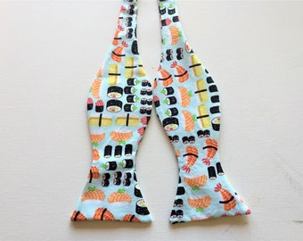 Sushi Print Bow Tie, Adult adjustable, Self Tie or PreTied, novelty fun print, food, oriental