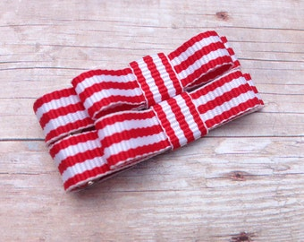 Red & white striped baby bows - tuxedo bows, toddler hair bows, hair bows, baby bows, hair clips, baby clips, girls bows, red bows, bows