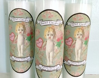Patron Saint of Her Own Damned Self Candle Claudia Doll Gag Gift Sanctuary Candles 7 Day