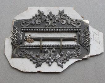 Large French Cut Steel Crown Sash Buckle / Ornate Gothic Fleur de Lis Buckle / NOS Original Card