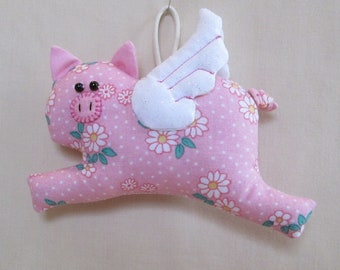 2 PATTERN OPTIONS - Fabric Flying Pig keychain, ornament, accessory