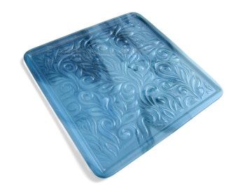 Blue Textured Glass Tray Plate Handmade