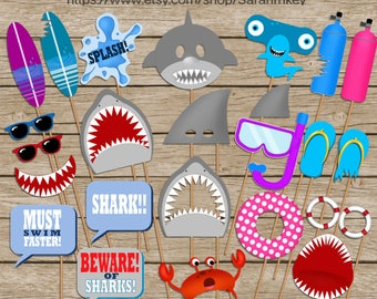 Shark Printable Photo Booth Props, Shark Birthday photo booth props, Beach photo booth props