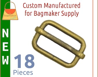 3/4 Inch Moving Bar Slide, Antique Gold / Light Antique Brass Finish, 18 Pieces, .75 Inch Movable Bar Slide, Purse Handbag Making, SLD-AA108