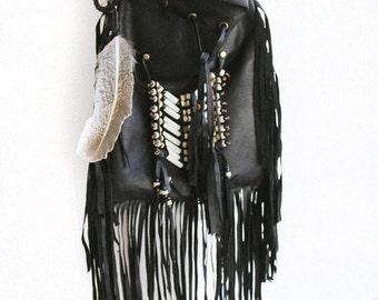 medicine bag   black leather bag   leather purse   gypsy bag