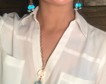 Gifts for Her, Stunning Turquoise and Hammered Copper Necklace and Earring Set