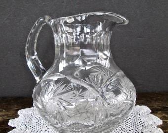 Sale Small Cut Glass Juice Pitcher