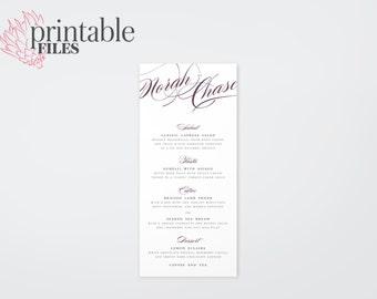 The Isabella Romantic Calligraphy Wedding Menu Card (Printable)
